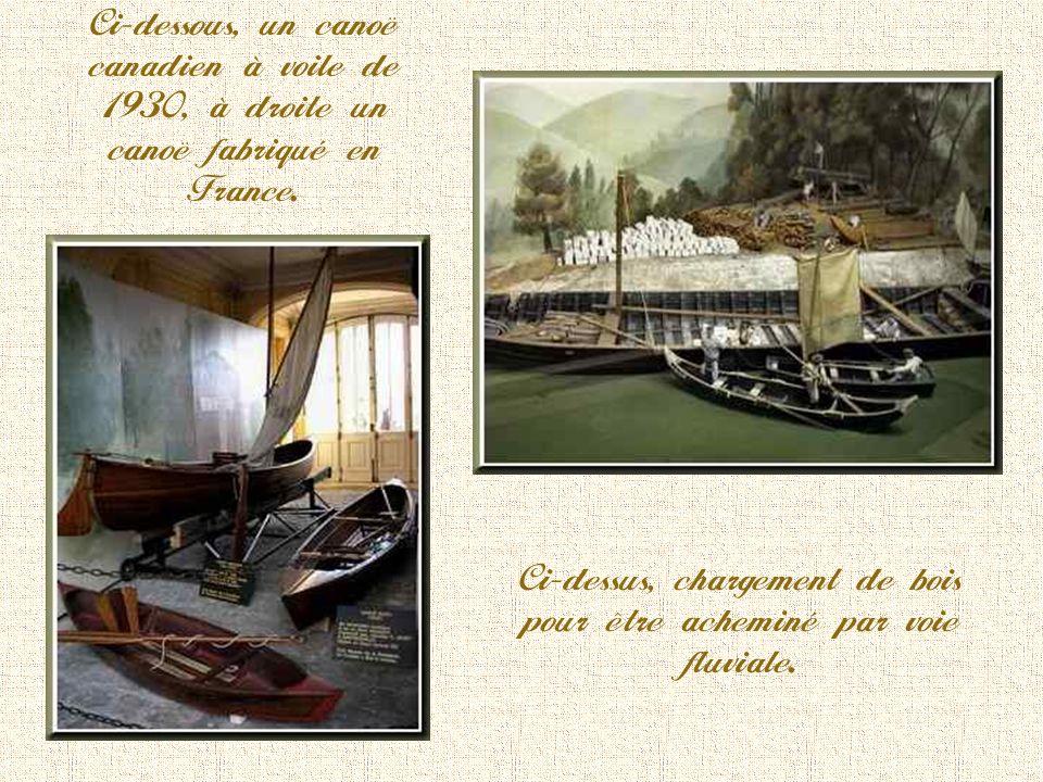 Barque de Patron du Rhône. Cette barque marchait en tête du « train des bateaux assemblés » pour la remonte du fleuve. Remarquer le mât de halage très