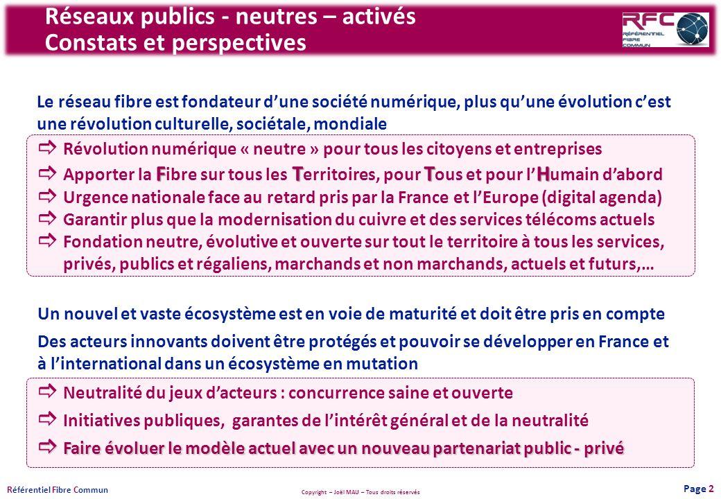 Copyright – Joël MAU – Tous droits réservés R éférentiel F ibre C ommun Réseaux publics - neutres – activés Constats et perspectives Le réseau fibre e