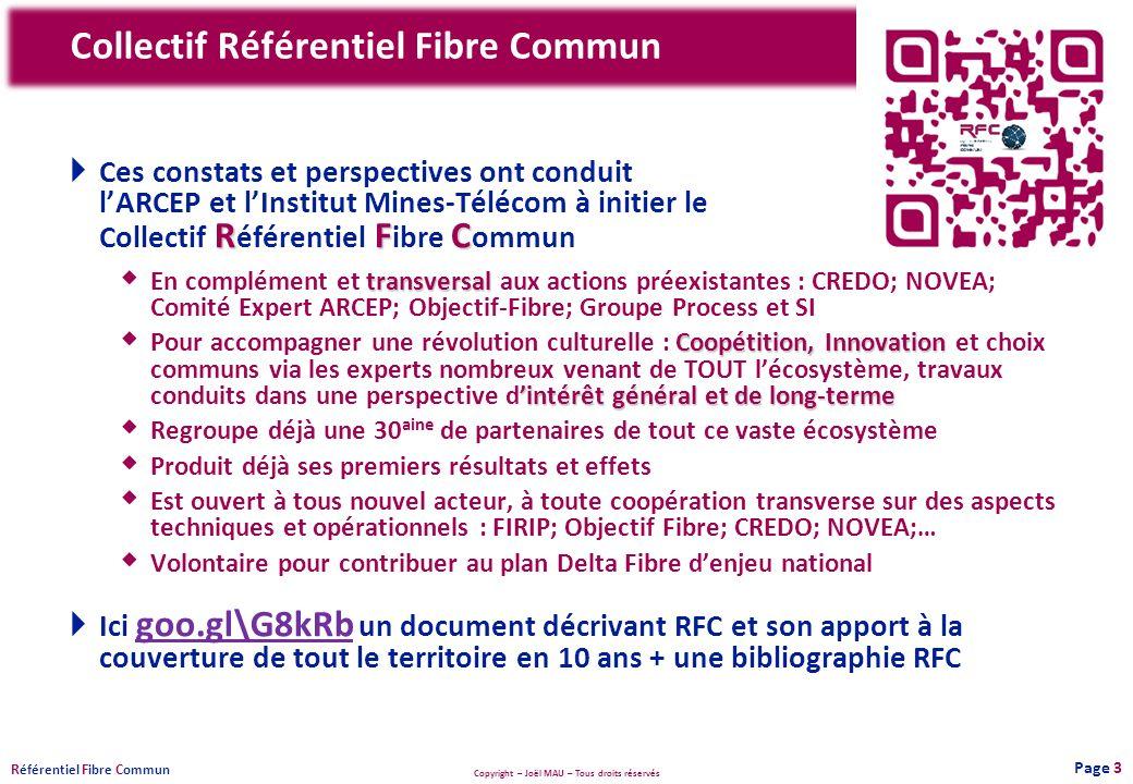 Copyright – Joël MAU – Tous droits réservés R éférentiel F ibre C ommun Collectif Référentiel Fibre Commun Page 3 RFC Ces constats et perspectives ont