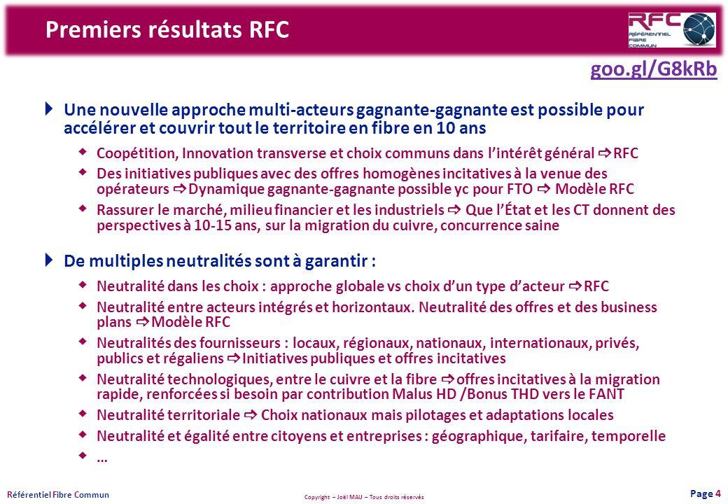 Copyright – Joël MAU – Tous droits réservés R éférentiel F ibre C ommun Premiers résultats RFC Une nouvelle approche multi-acteurs gagnante-gagnante e