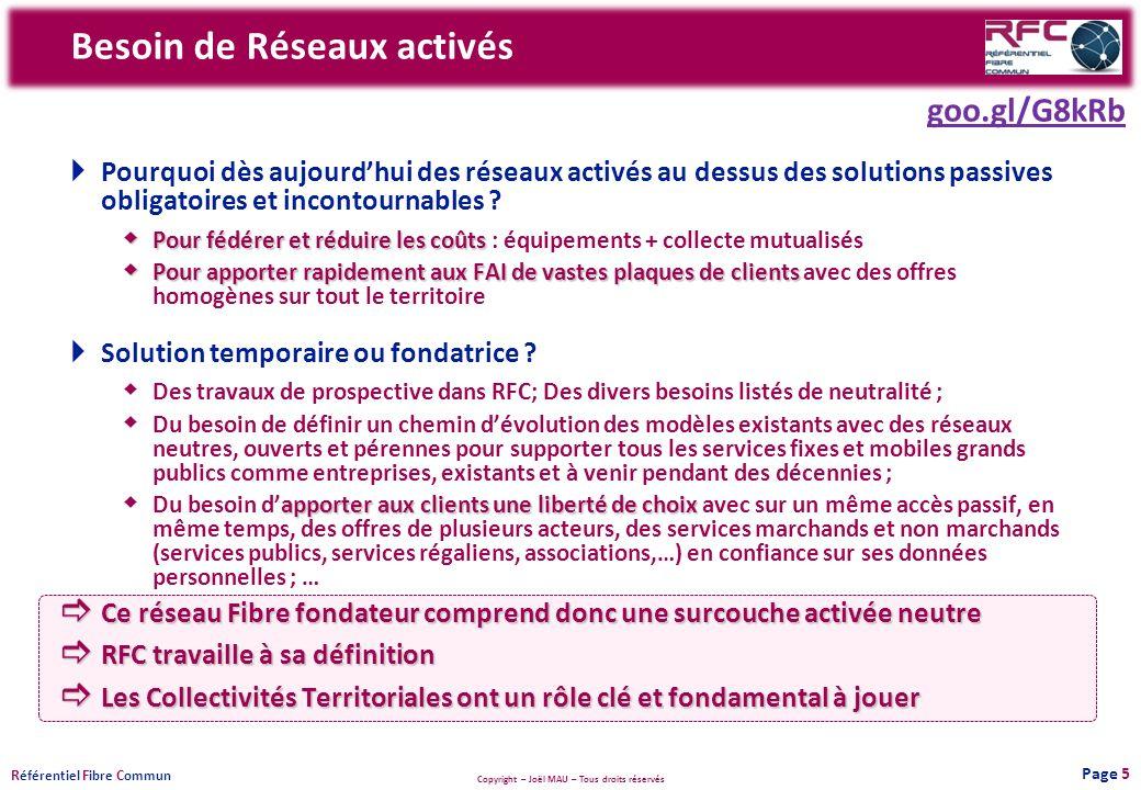 Copyright – Joël MAU – Tous droits réservés R éférentiel F ibre C ommun Besoin de Réseaux activés Pourquoi dès aujourdhui des réseaux activés au dessu