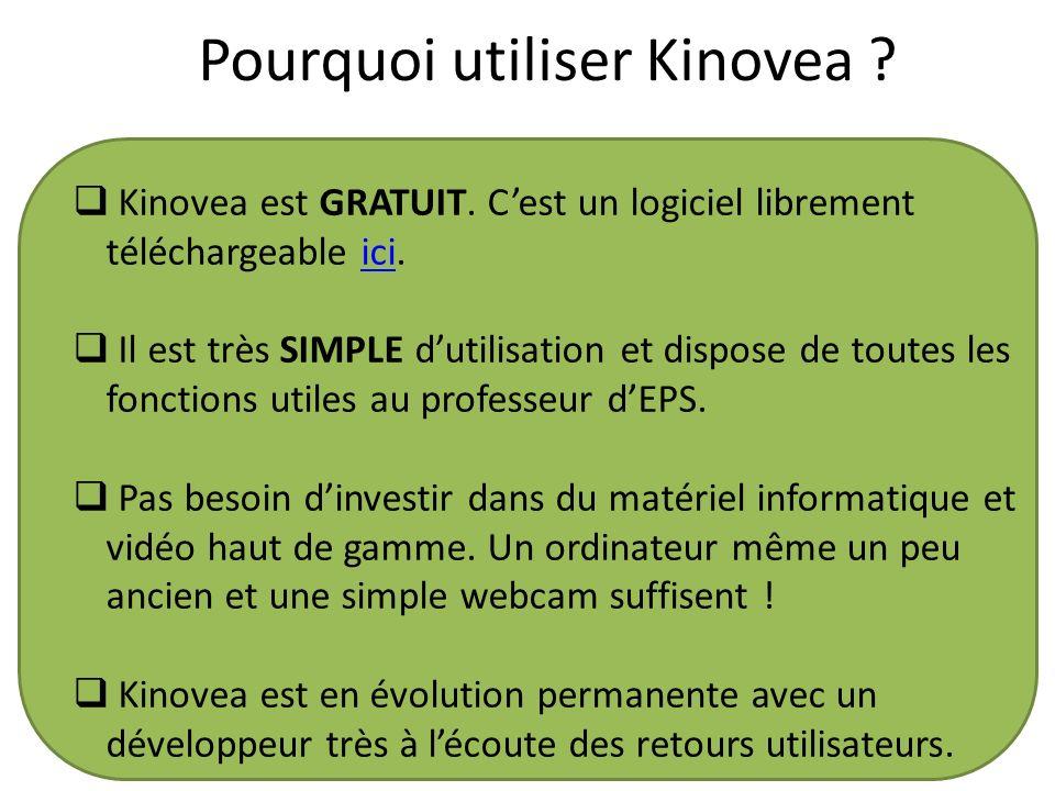 Pourquoi utiliser Kinovea ? Kinovea est GRATUIT. Cest un logiciel librement téléchargeable ici.ici Il est très SIMPLE dutilisation et dispose de toute