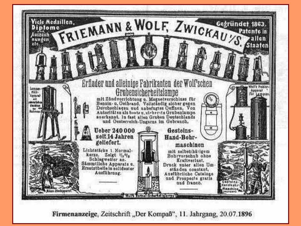 Lampe Wolf & Dahlmann 1900 La société Friemann & Wolf de Zwickau, en Allemagne a élaboré de nombreuses lampes de sécurité inhabituelles avant 1900. L'
