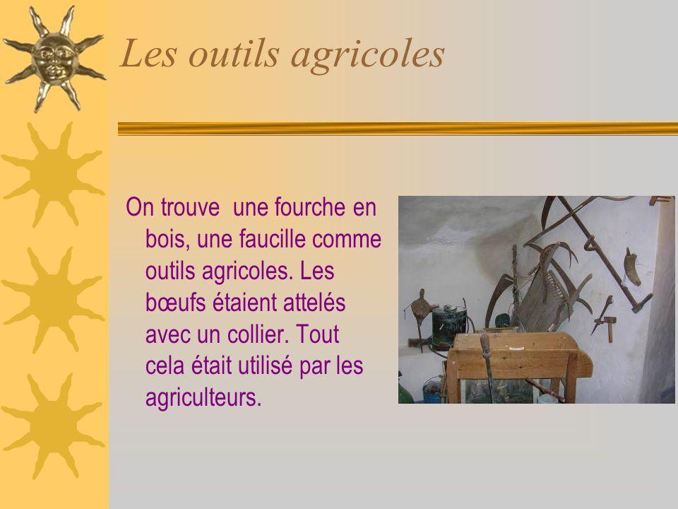 Les outils agricoles On trouve une fourche en bois, une faucille comme outils agricoles.
