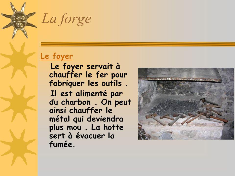 La forge Le foyer Le foyer servait à chauffer le fer pour fabriquer les outils.