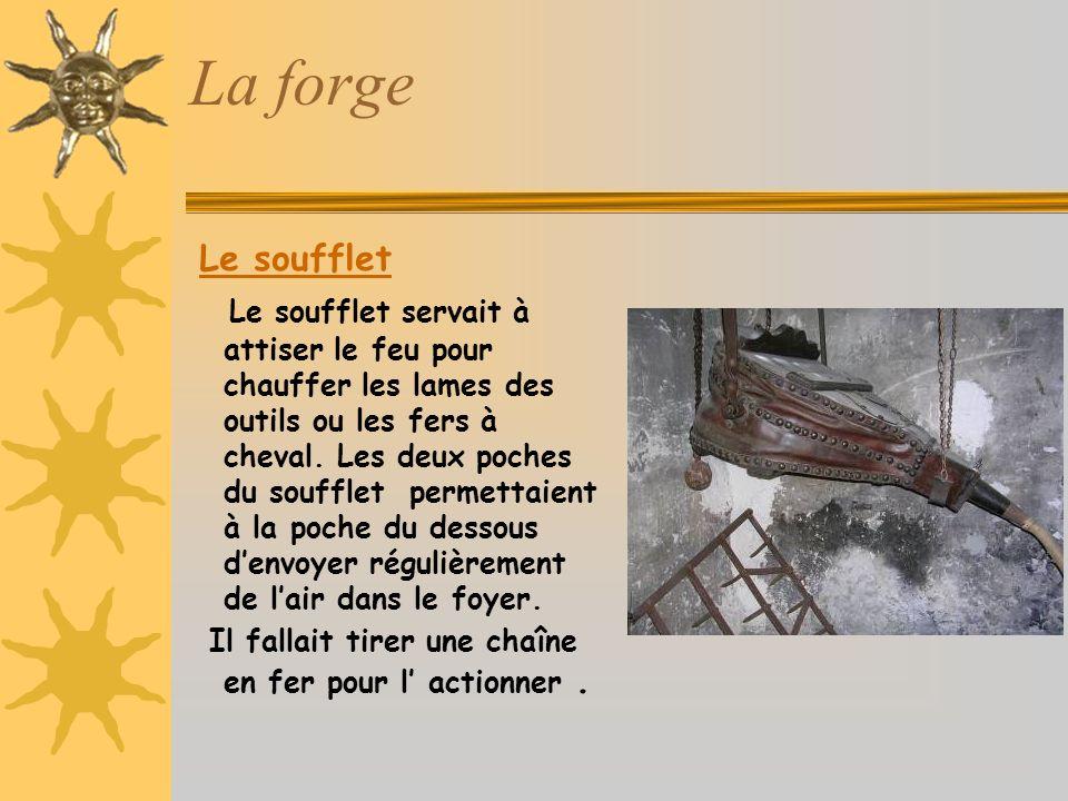 La forge Le soufflet Le soufflet servait à attiser le feu pour chauffer les lames des outils ou les fers à cheval.