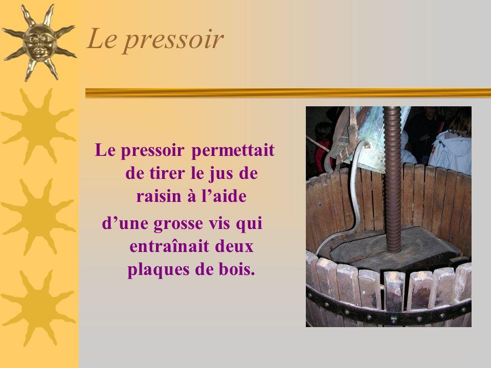 Le pressoir Le pressoir permettait de tirer le jus de raisin à laide dune grosse vis qui entraînait deux plaques de bois.