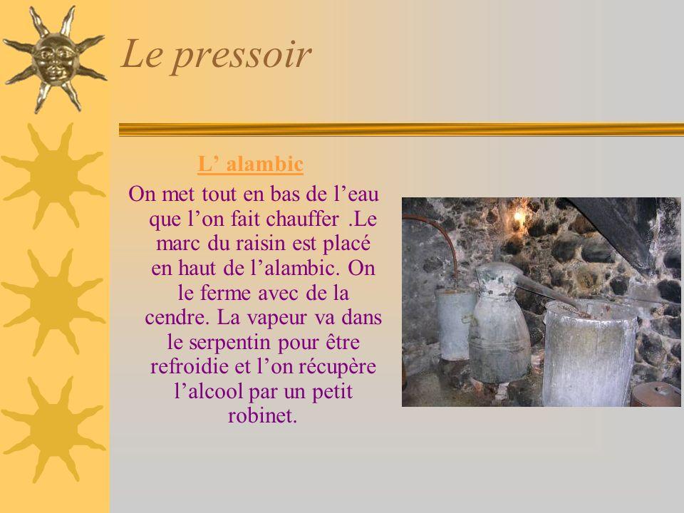 Le pressoir L alambic On met tout en bas de leau que lon fait chauffer.Le marc du raisin est placé en haut de lalambic.