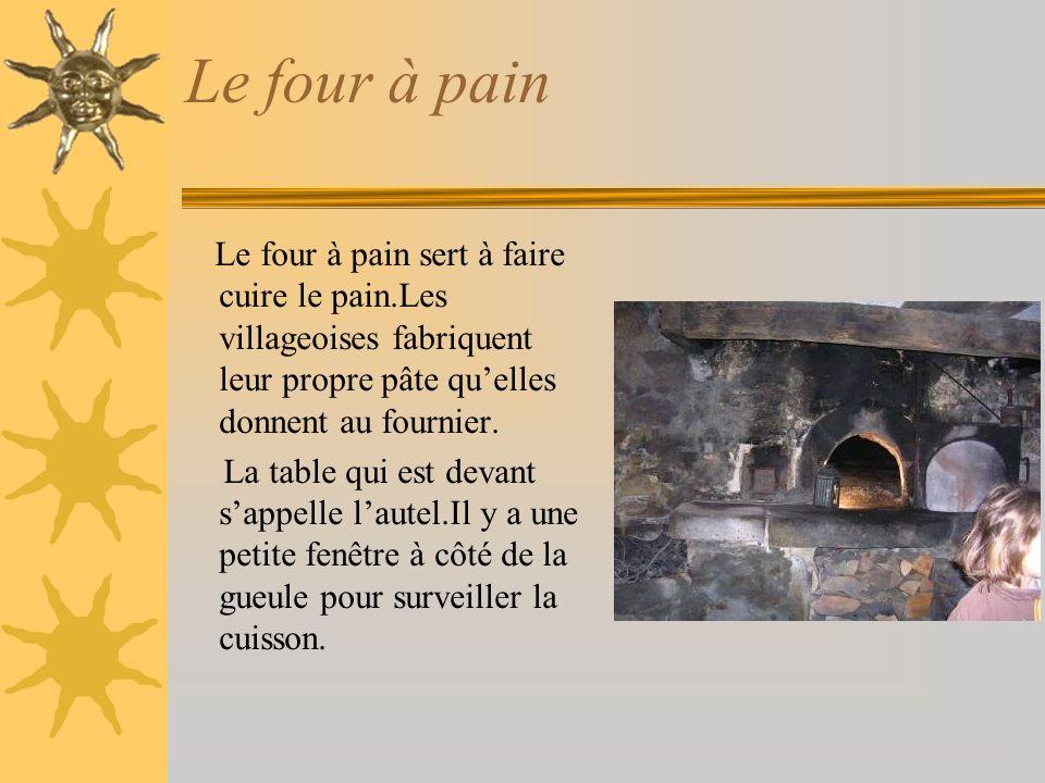 Le four à pain Le four à pain sert à faire cuire le pain.Les villageoises fabriquent leur propre pâte quelles donnent au fournier.