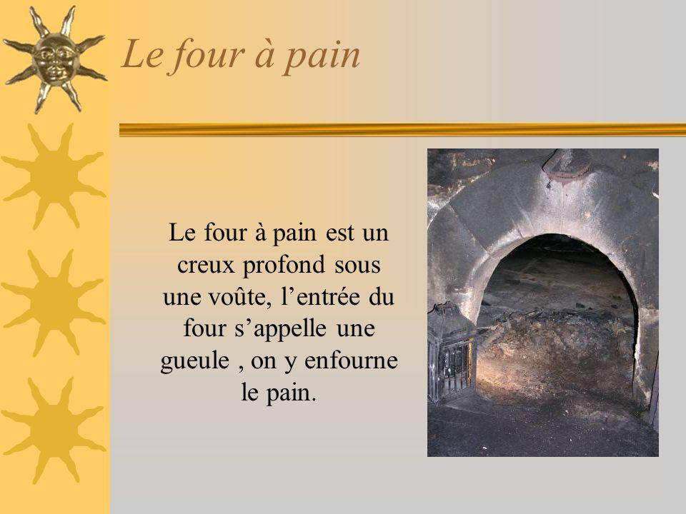 Le four à pain Le four à pain est un creux profond sous une voûte, lentrée du four sappelle une gueule, on y enfourne le pain.
