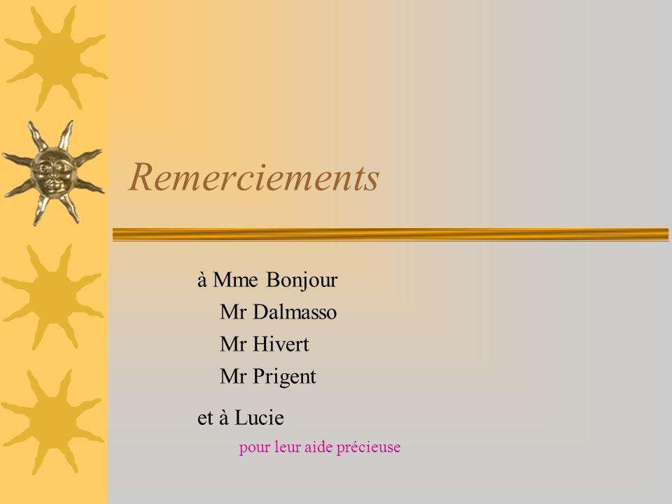 Remerciements à Mme Bonjour Mr Dalmasso Mr Hivert Mr Prigent et à Lucie pour leur aide précieuse