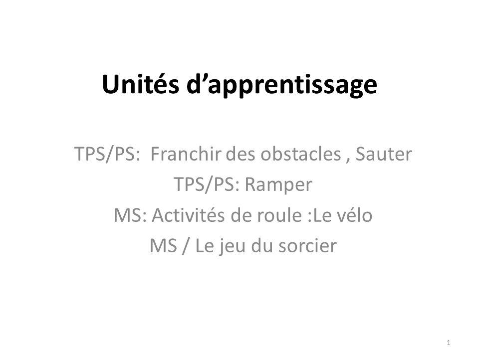 Unités dapprentissage TPS/PS: Franchir des obstacles, Sauter TPS/PS: Ramper MS: Activités de roule :Le vélo MS / Le jeu du sorcier 1