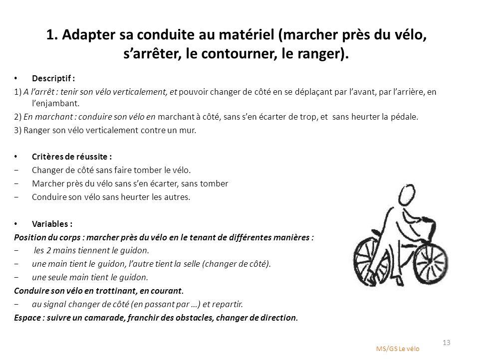 1. Adapter sa conduite au matériel (marcher près du vélo, sarrêter, le contourner, le ranger). Descriptif : 1) A larrêt : tenir son vélo verticalement