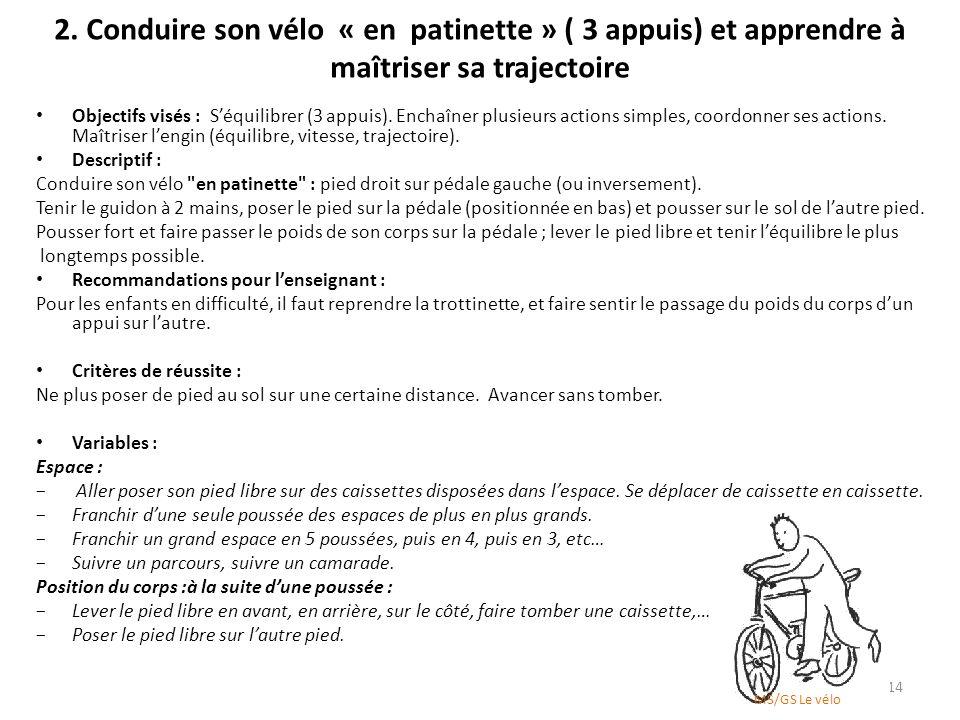 2. Conduire son vélo « en patinette » ( 3 appuis) et apprendre à maîtriser sa trajectoire Objectifs visés : Séquilibrer (3 appuis). Enchaîner plusieur