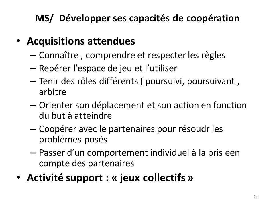 MS/ Développer ses capacités de coopération Acquisitions attendues – Connaître, comprendre et respecter les règles – Repérer lespace de jeu et lutilis