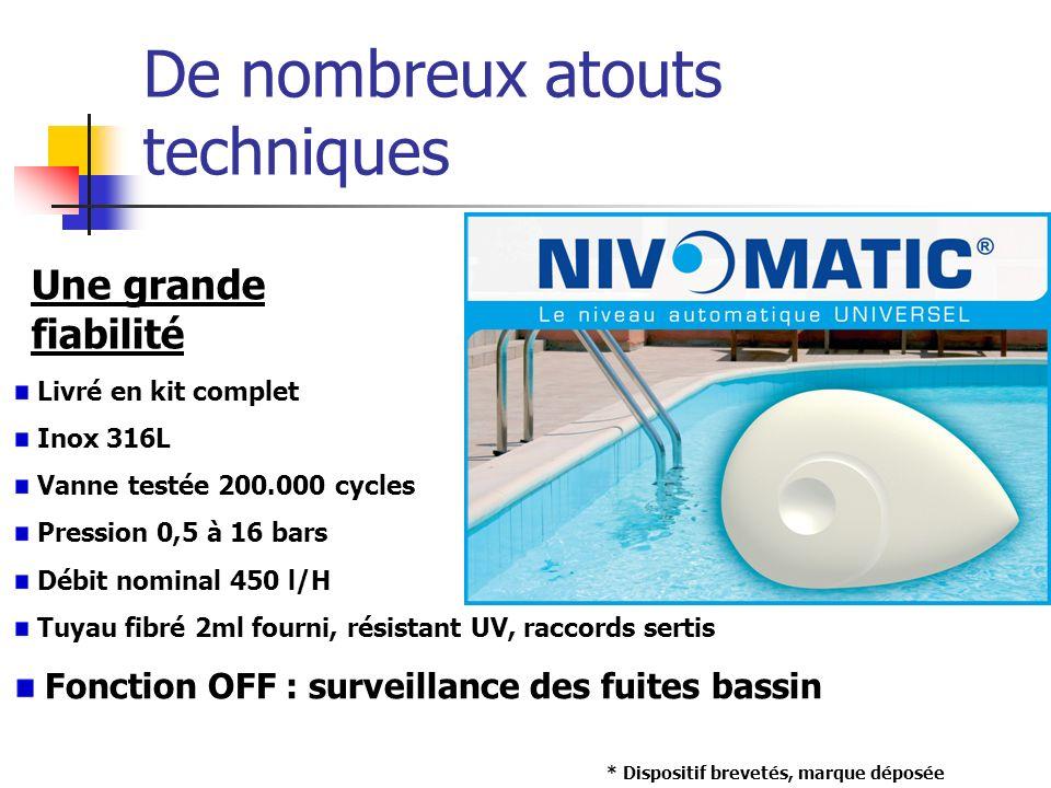De nombreux atouts techniques Une grande fiabilité Livré en kit complet Inox 316L Vanne testée 200.000 cycles Pression 0,5 à 16 bars Débit nominal 450
