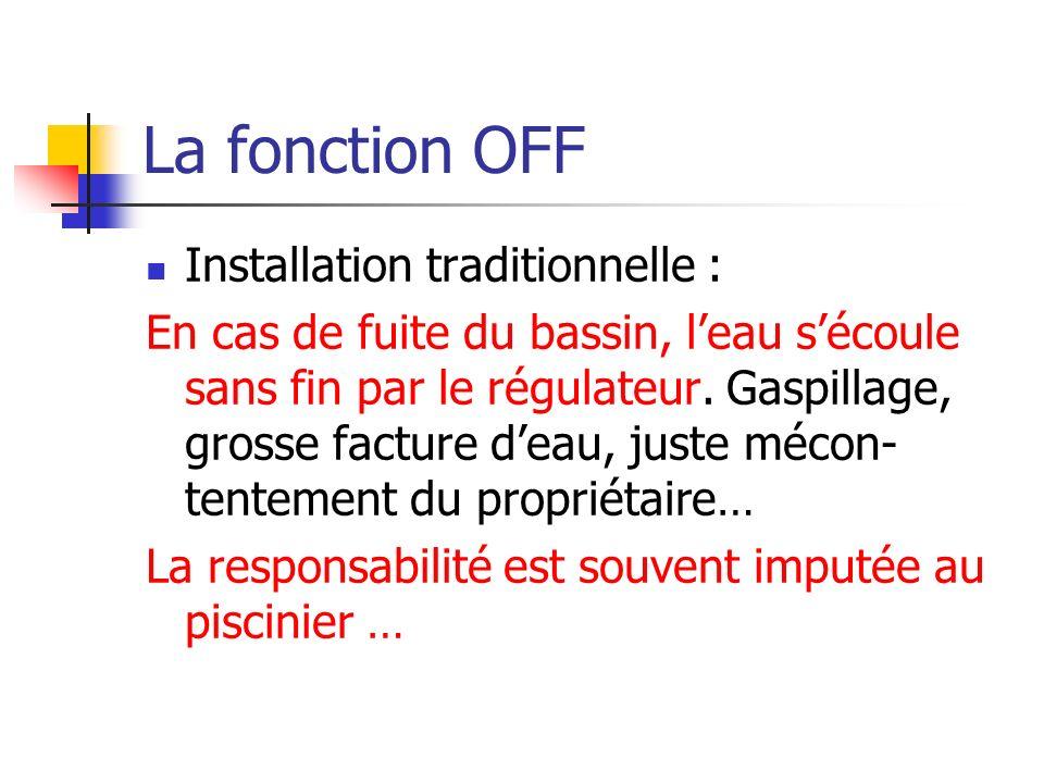 La fonction OFF Installation traditionnelle : En cas de fuite du bassin, leau sécoule sans fin par le régulateur. Gaspillage, grosse facture deau, jus