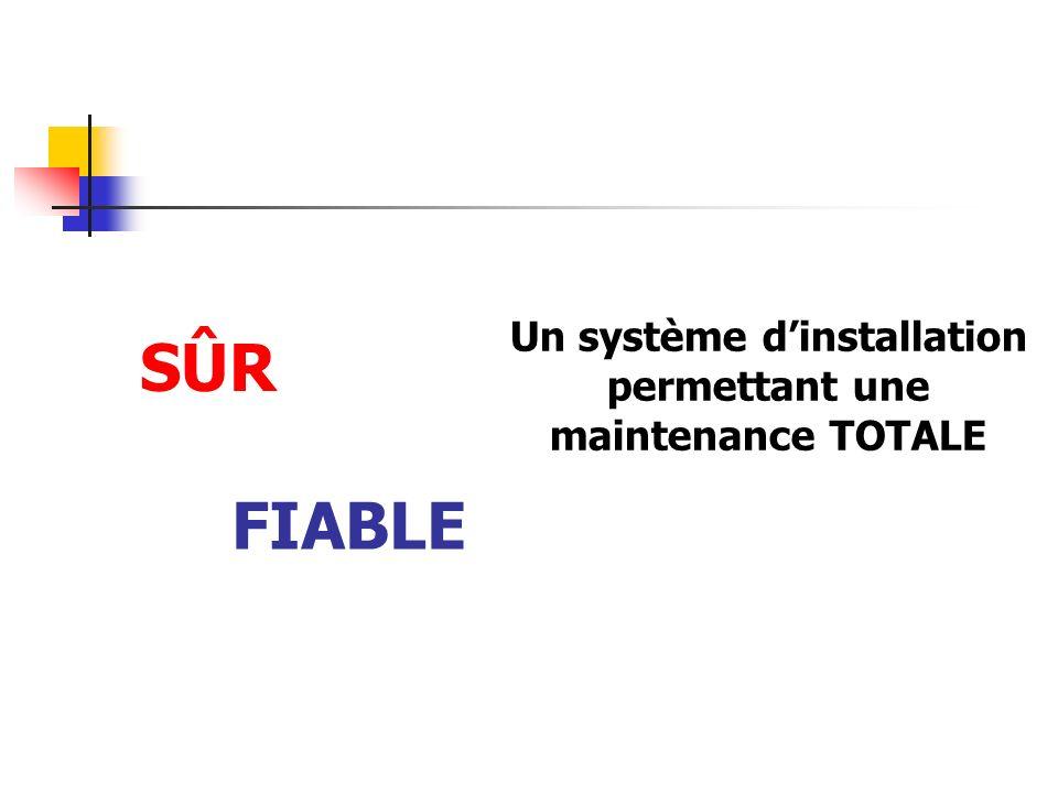 FIABLE SÛR Un système dinstallation permettant une maintenance TOTALE