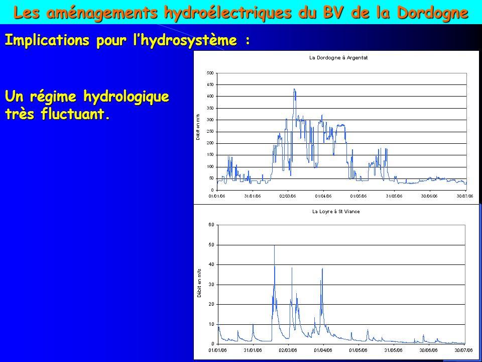 Régime hydrologique de la Dordogne sur la période 1989- 2003 Sont considérées comme potentiellement impactantes les variations qui, par tranche de Q, dépassent telle amplitude en m 3 /s ou tel gradient en m 3 /s /h