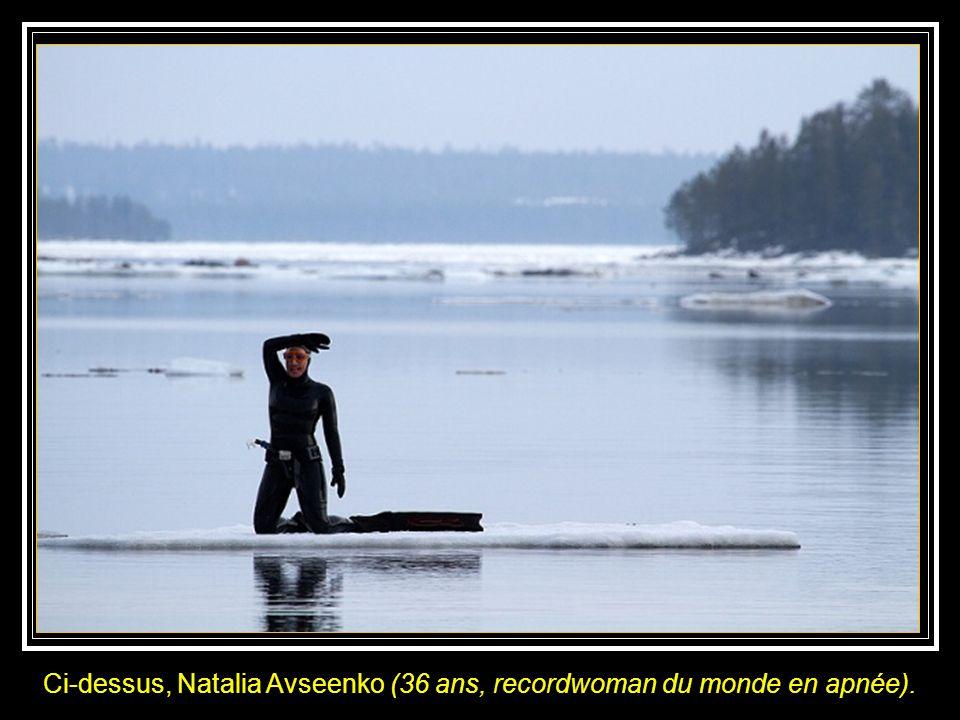 Nue au milieu de baleines blanches dans les eaux glaciales du cercle arctique.