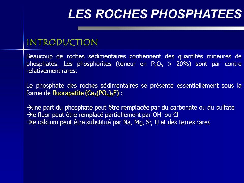 LES ROCHES PHOSPHATEES Beaucoup de roches sédimentaires contiennent des quantités mineures de phosphates.
