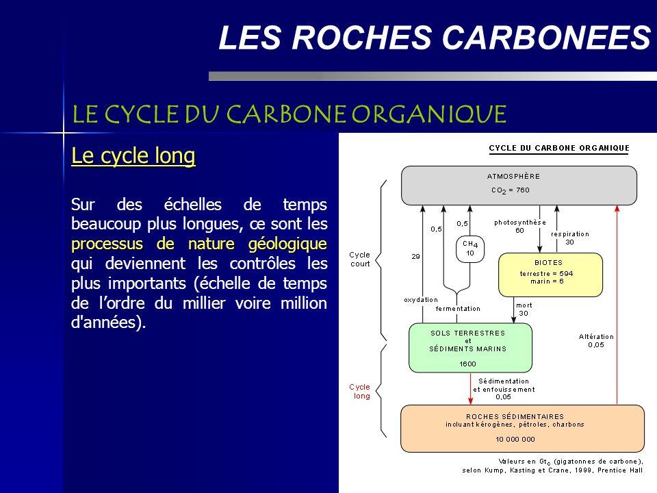 LES ROCHES CARBONEES LE CYCLE DU CARBONE ORGANIQUE Le cycle long processus de nature géologique Sur des échelles de temps beaucoup plus longues, ce sont les processus de nature géologique qui deviennent les contrôles les plus importants (échelle de temps de lordre du millier voire million d années).