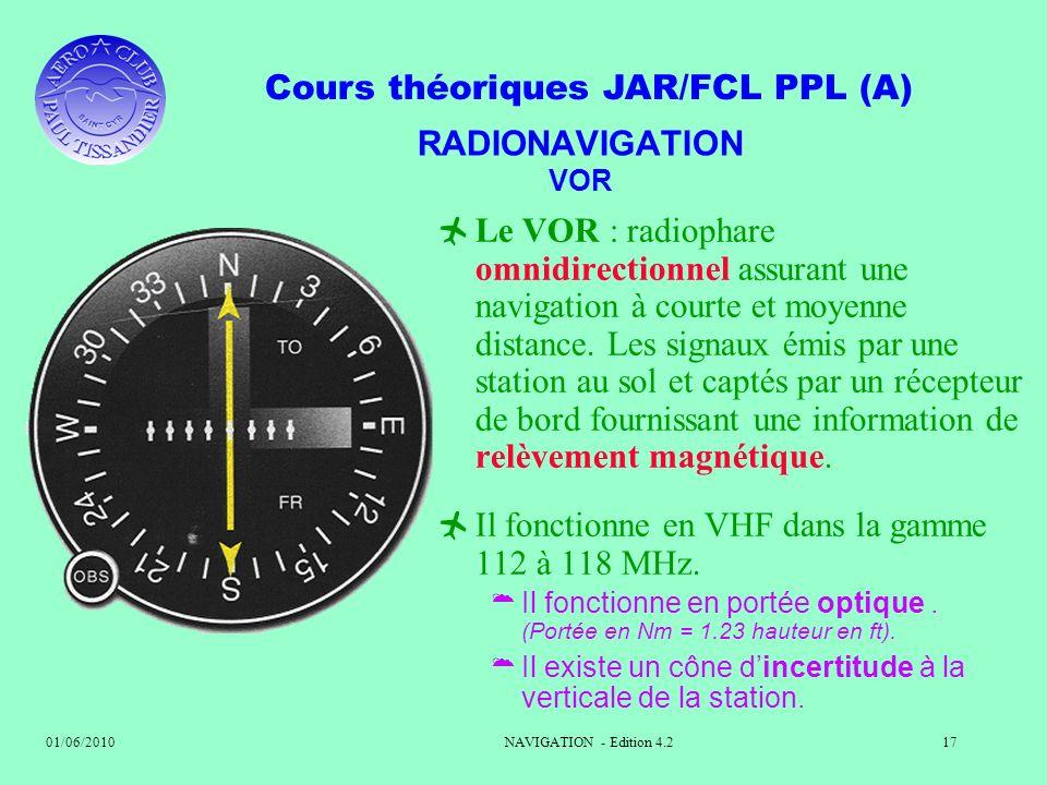 Cours théoriques JAR/FCL PPL (A) 01/06/2010NAVIGATION - Edition 4.217 RADIONAVIGATION VOR Le VOR : radiophare omnidirectionnel assurant une navigation