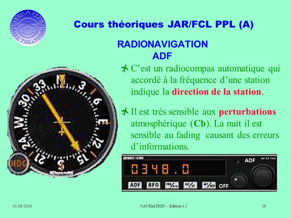 Cours théoriques JAR/FCL PPL (A) 01/06/2010NAVIGATION - Edition 4.218 RADIONAVIGATION ADF Cest un radiocompas automatique qui accordé à la fréquence d