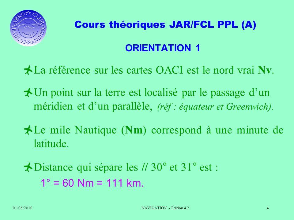 Cours théoriques JAR/FCL PPL (A) 01/06/2010NAVIGATION - Edition 4.24 ORIENTATION 1 La référence sur les cartes OACI est le nord vrai Nv. Un point sur
