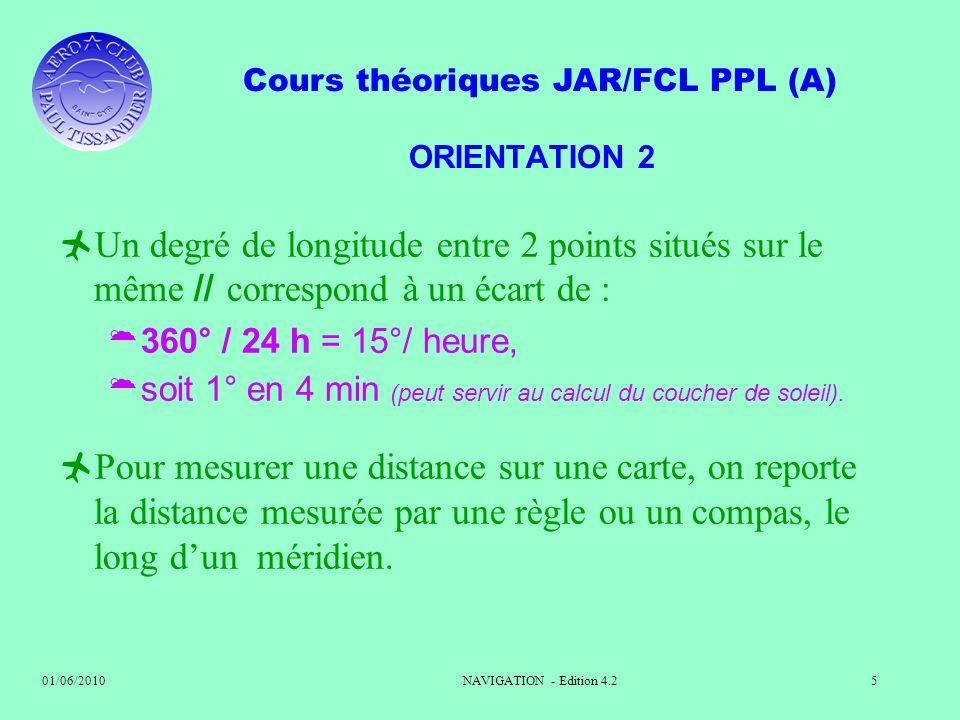 Cours théoriques JAR/FCL PPL (A) 01/06/2010NAVIGATION - Edition 4.25 ORIENTATION 2 Un degré de longitude entre 2 points situés sur le même // correspo