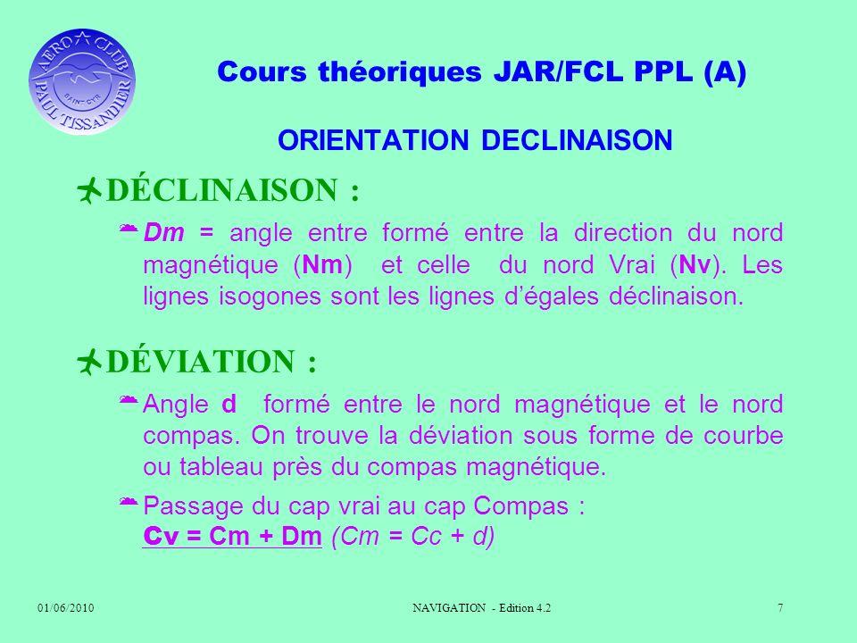 Cours théoriques JAR/FCL PPL (A) 01/06/2010NAVIGATION - Edition 4.27 ORIENTATION DECLINAISON DÉCLINAISON : Dm = angle entre formé entre la direction d