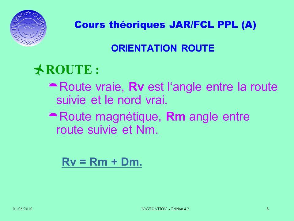 Cours théoriques JAR/FCL PPL (A) 01/06/2010NAVIGATION - Edition 4.28 ORIENTATION ROUTE ROUTE : Route vraie, Rv est langle entre la route suivie et le