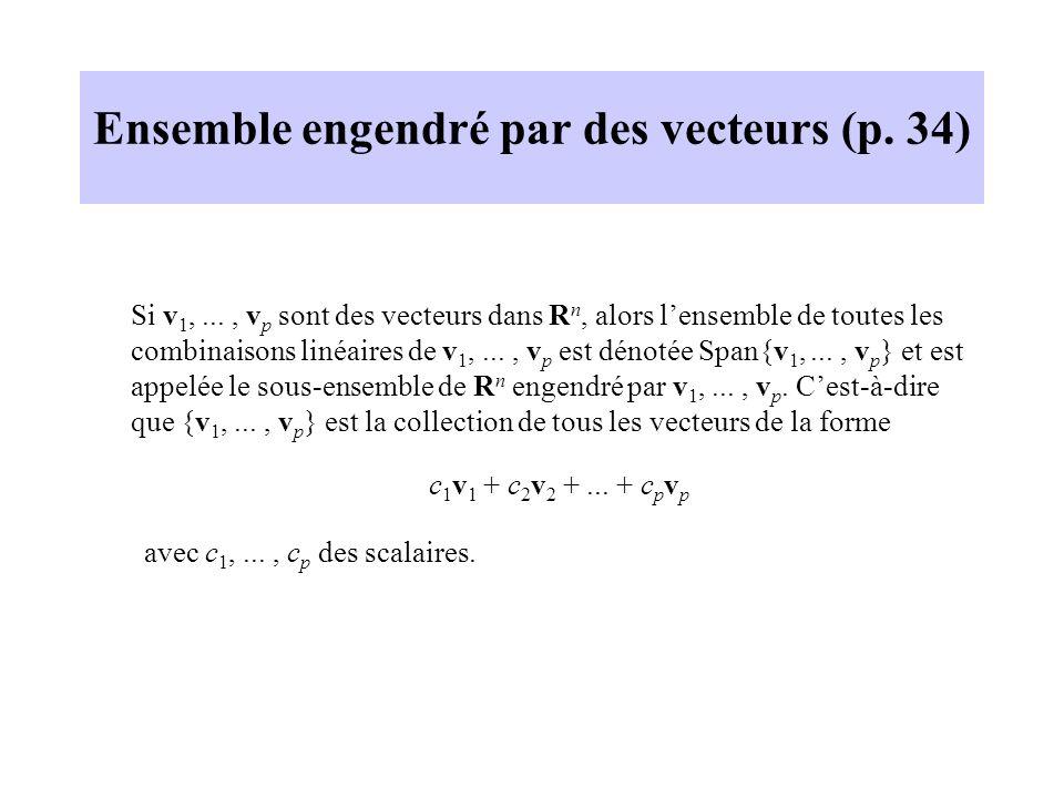 Ensemble engendré par des vecteurs (p. 34) Si v 1,..., v p sont des vecteurs dans R n, alors lensemble de toutes les combinaisons linéaires de v 1,...