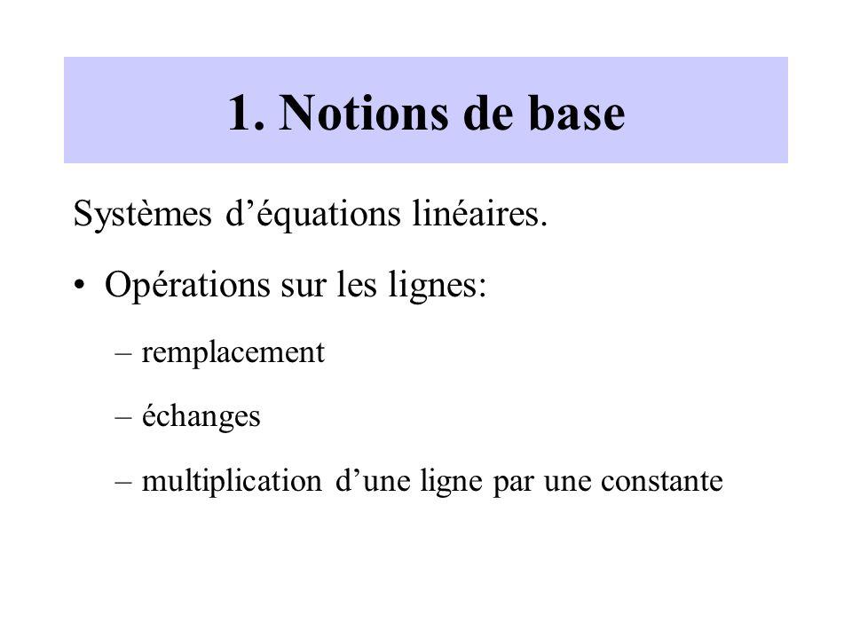1. Notions de base Systèmes déquations linéaires. Opérations sur les lignes: –remplacement –échanges –multiplication dune ligne par une constante