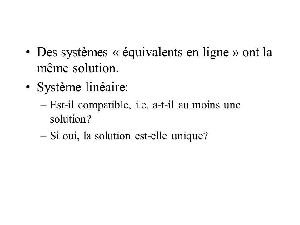 Des systèmes « équivalents en ligne » ont la même solution. Système linéaire: –Est-il compatible, i.e. a-t-il au moins une solution? –Si oui, la solut