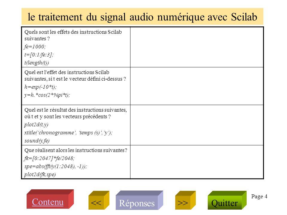 Page 4 le traitement du signal audio numérique avec Scilab Quels sont les effets des instructions Scilab suivantes .