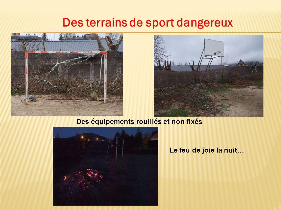 Des terrains de sport dangereux Des équipements rouillés et non fixés Le feu de joie la nuit…