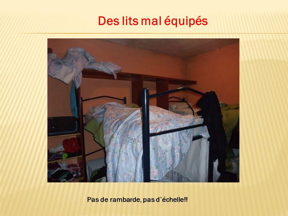 Des lits mal équipés Pas de rambarde, pas déchelle!!