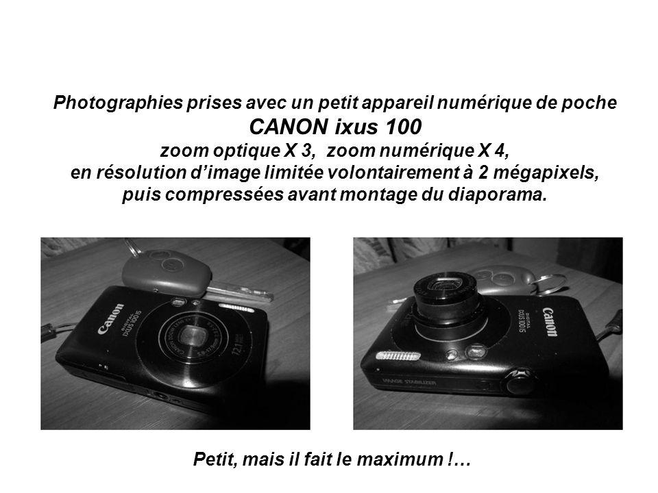 Photographies prises avec un petit appareil numérique de poche CANON ixus 100 zoom optique X 3, zoom numérique X 4, en résolution dimage limitée volontairement à 2 mégapixels, puis compressées avant montage du diaporama.