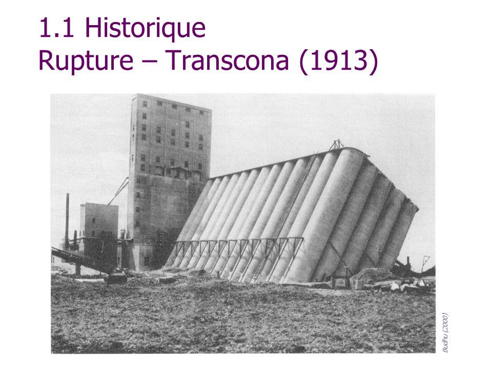 1.1 Historique Rupture – Transcona (1913) Budhu (2000)