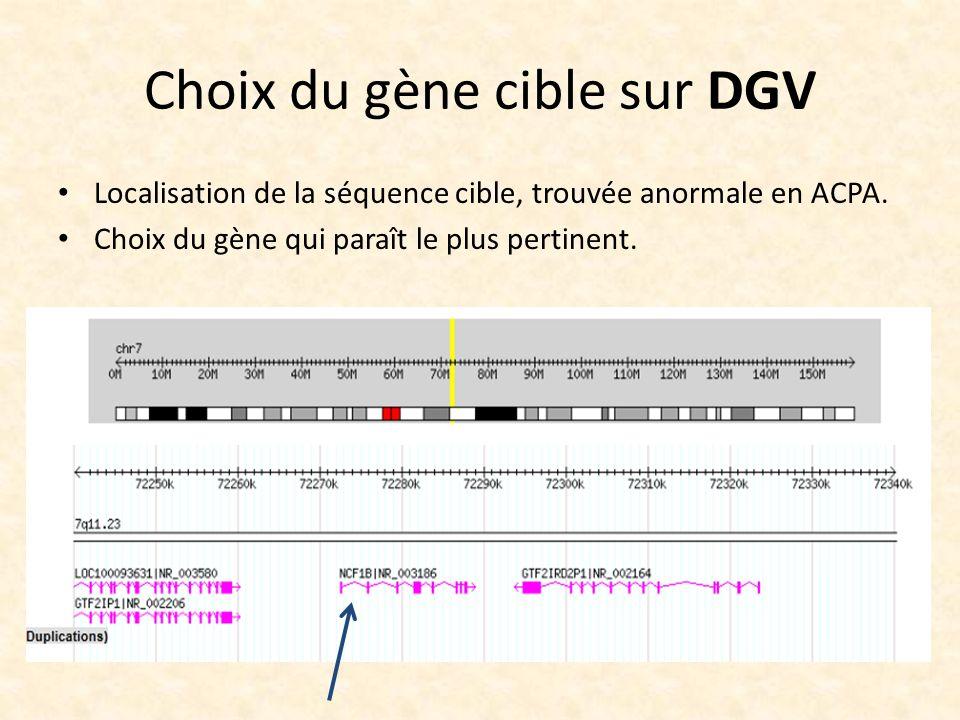 Choix du gène cible sur DGV Localisation de la séquence cible, trouvée anormale en ACPA. Choix du gène qui paraît le plus pertinent.