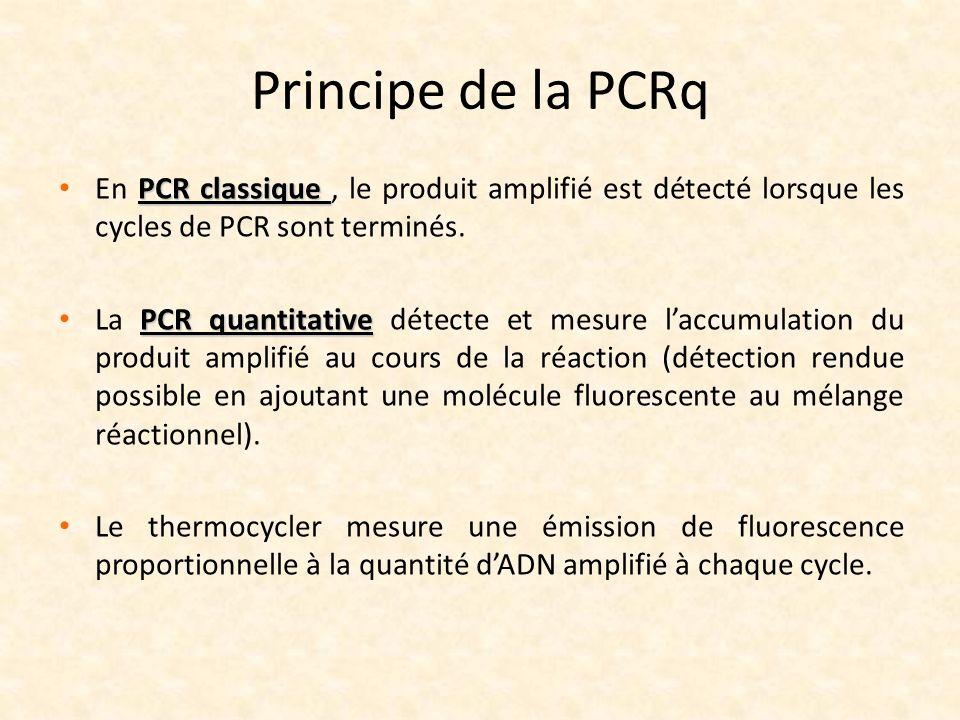 Principe de la PCRq PCR classique En PCR classique, le produit amplifié est détecté lorsque les cycles de PCR sont terminés. PCR quantitative La PCR q
