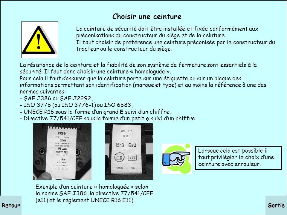 SortieRetour Installer une ceinture La ceinture de sécurité doit être installée et fixée conformément aux préconisations du constructeur du siège et d