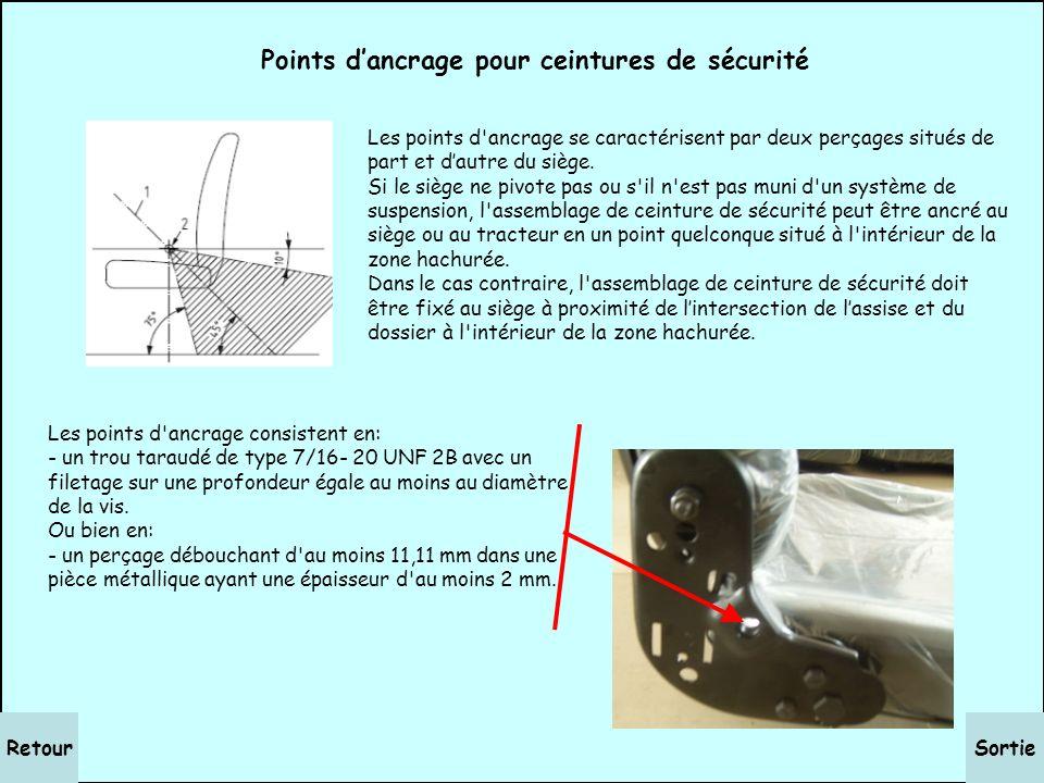 SortieRetour Points dancrage des sièges Les sièges sont soit fixés sur le plancher de la cabine (ou de la plateforme), soit sur la châssis du tracteur