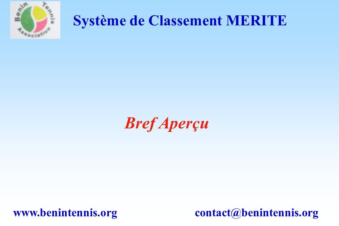 www.benintennis.org contact@benintennis.org Système de Classement MERITE Bref Aperçu