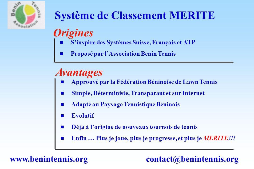 www.benintennis.org contact@benintennis.org Système de Classement MERITE Approuvé par la Fédération Béninoise de Lawn Tennis Simple, Déterministe, Transparant et sur Internet Adapté au Paysage Tennistique Béninois Evolutif Déjà à lorigine de nouveaux tournois de tennis Enfin … Plus je joue, plus je progresse, et plus je MERITE!!.