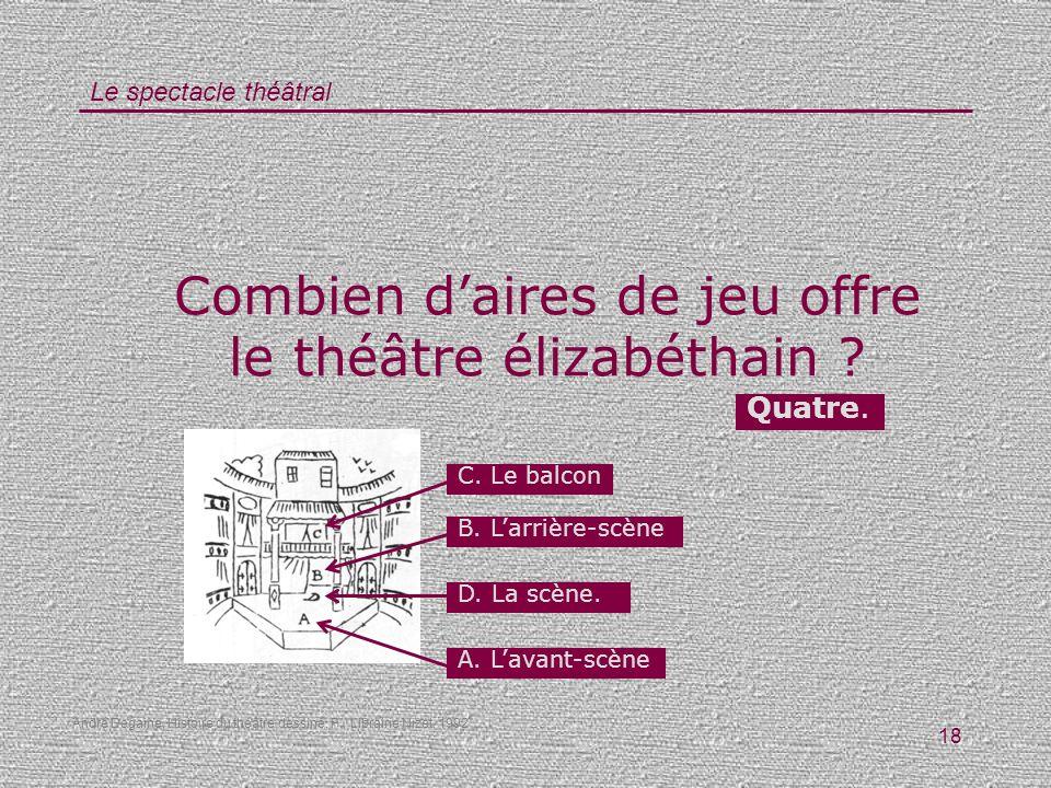 Le spectacle théâtral 18 Combien daires de jeu offre le théâtre élizabéthain ? Quatre. D. La scène. C. Le balcon B. Larrière-scène A. Lavant-scène And