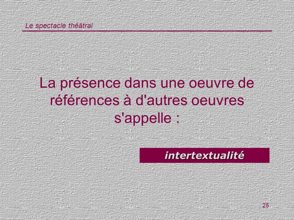 Le spectacle théâtral 25 La présence dans une oeuvre de références à d'autres oeuvres s'appelle : intertextualité