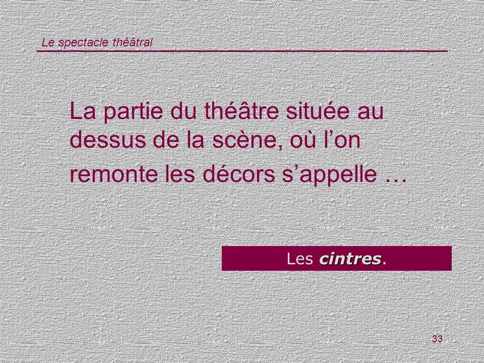 Le spectacle théâtral 33 La partie du théâtre située au dessus de la scène, où lon remonte les décors sappelle … cintres Les cintres.