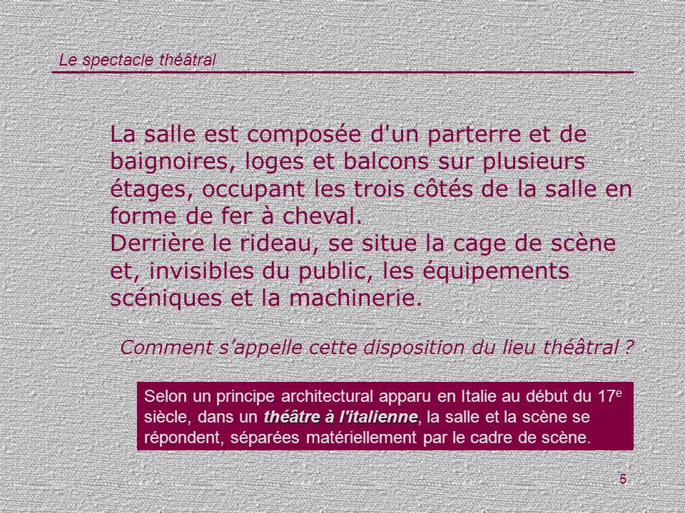 Le spectacle théâtral 36 Comment sappelle linstitution théâtrale la plus prestigieuse de France .